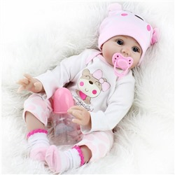 Allrise 22inch Lifelike Reborn Newborn Baby, Lovely Realistic Sweet Cute Boy Girl Toy Pink Princess, Vinyl Newborn Baby Silicone Dolls, Real Looking Doll