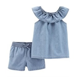 Toddler Girl          2-Piece Scoop Neck Chambray Top & Short Set