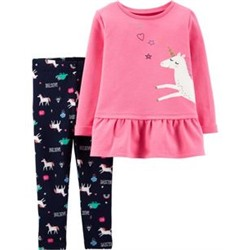 Toddler Girl          2-Piece Unicorn French Terry Top & Legging Set