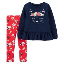 Toddler Girl          2-Piece Kitty French Terry Top & Floral Legging Set