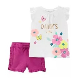 Toddler Girl          2-Piece Daddy's Girl Floral Top & Ruffle Short Set